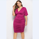 D2932 Hot Sale Wrap Hip V Neck Sexy Pleated Dress Plus Size