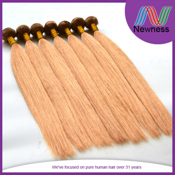6A grade silky smooth super soft no tangle double drawn full end straight yaki blonde hair weaving