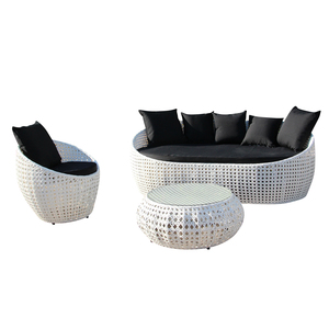 New! 3 Piece Glass Top Table Set Woven Wicker Chair Patio Set Rattan Wicker Sofa