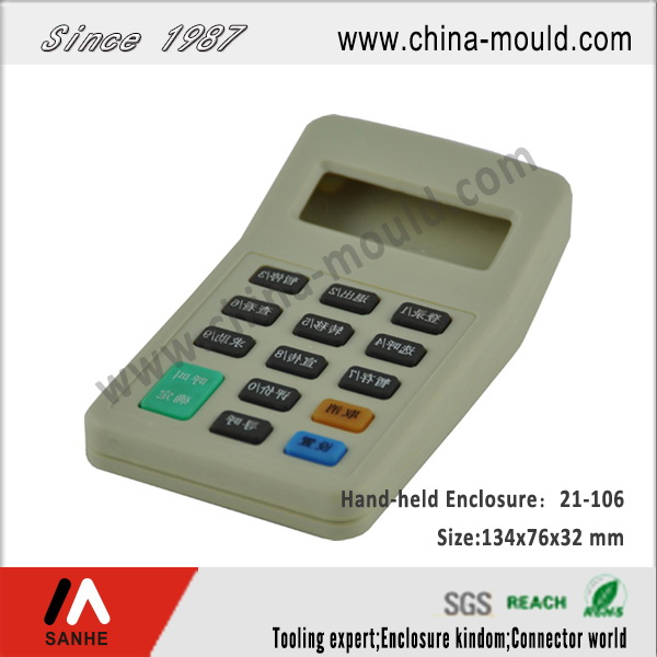 Plastic electronic hand-held enclosure for calculator