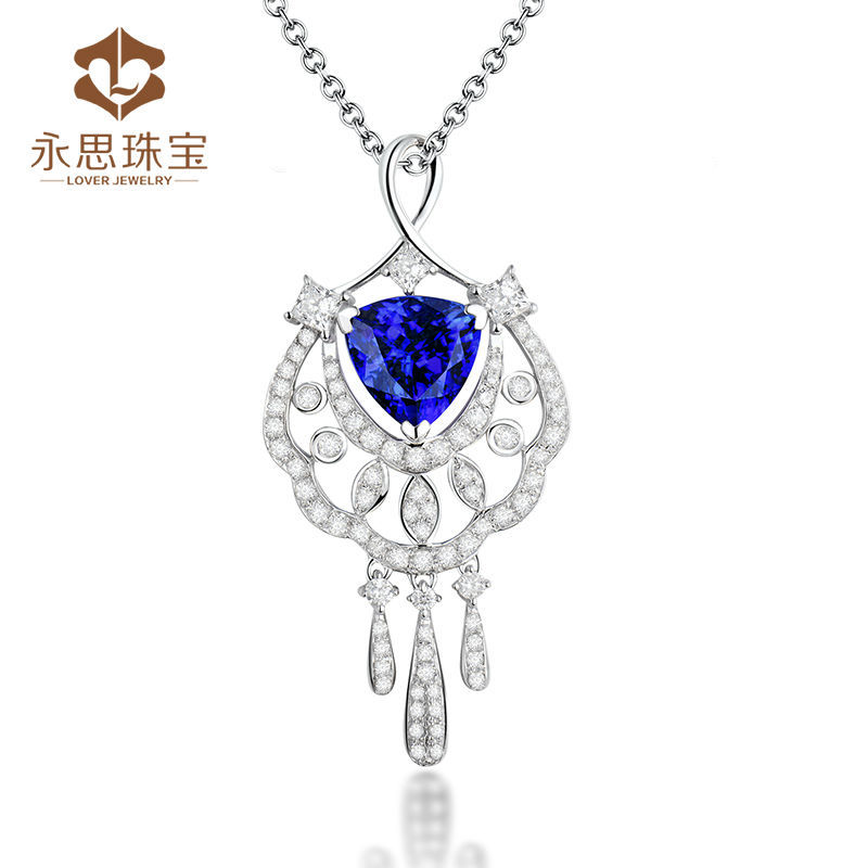 Elegant Genuine Trillion Blue Tanzanite Pendant In Solid 18K Gold,Dangle Pendant Necklace For Customized Sale WP075