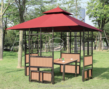 3*3m cheap simple design outdoor garden iron gazebo with canopy plastic wooden with table & 3*3m Cheap Simple Design Outdoor Garden Iron Gazebo With Canopy ...