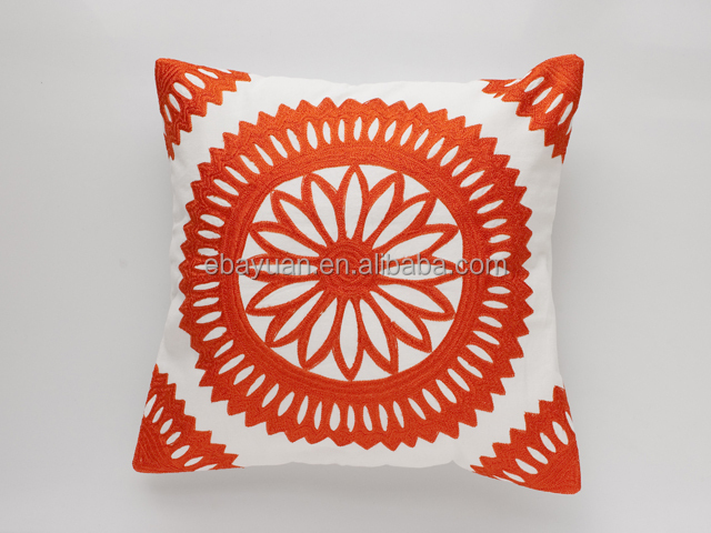 Chinese red sun flower hollow-carved bed rest pillow