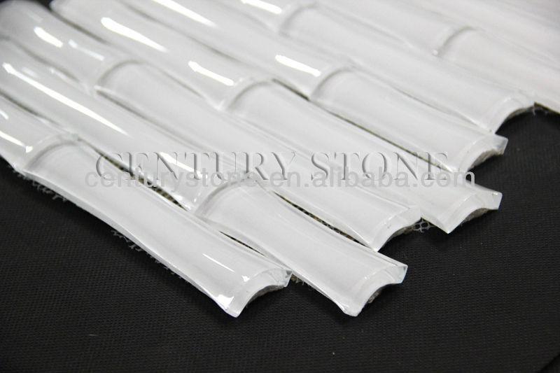Irregular Shape Wave White Glass Mix Stone Wavy Glass