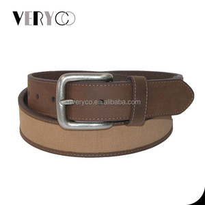 Canvas Leather Belt 40MM Casual Camel Jeans Belt OEM/ODM Factory