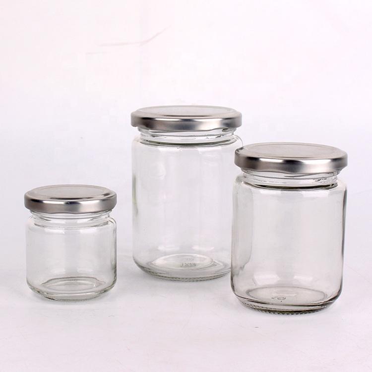 3oz 7oz Cylinder glass food storage jar for preserves marmalade jar with tin cap