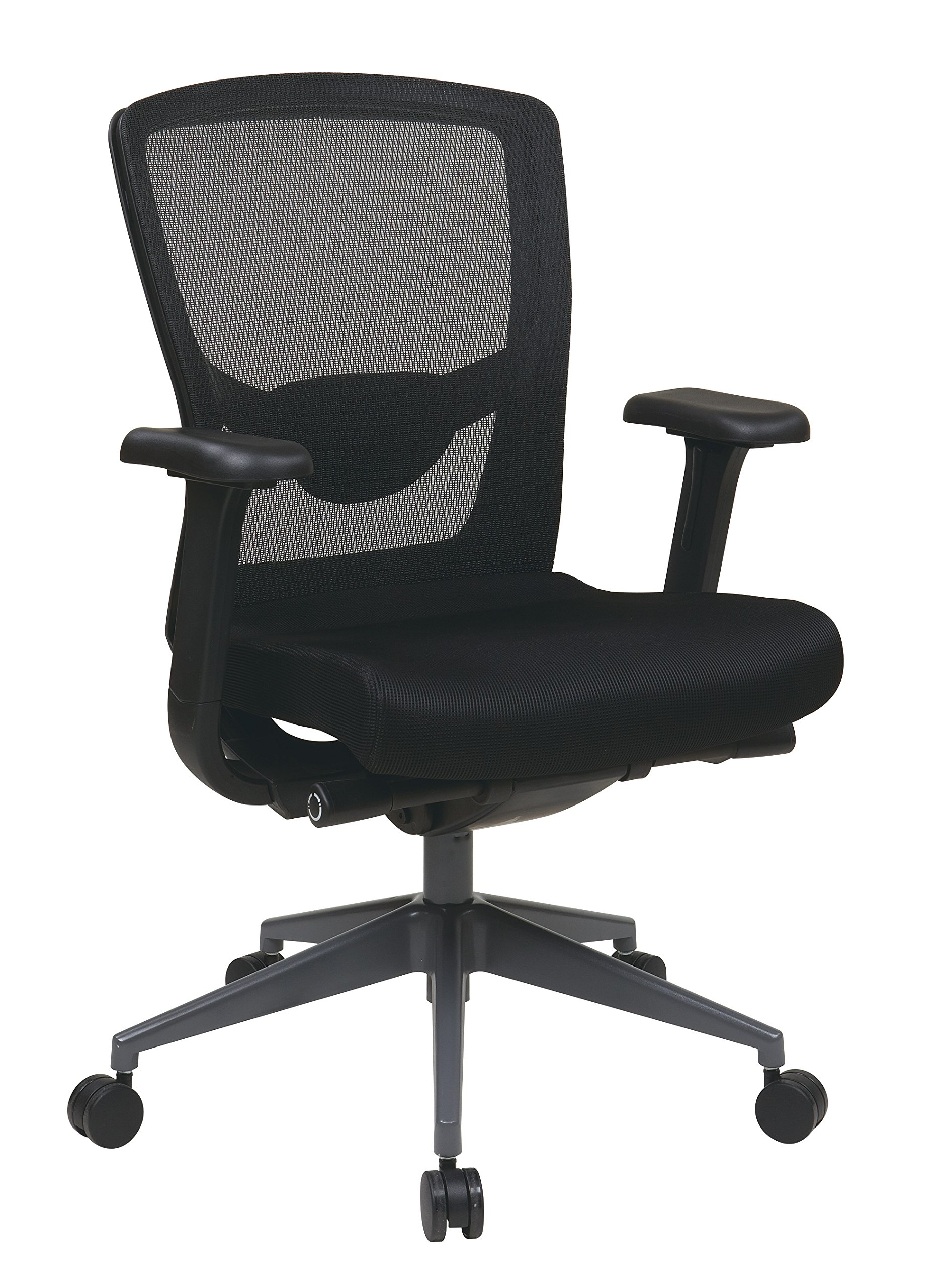 Office Star ProGrid Mesh Back and Fabric Seat, 2-to-1 Synchro Tilt Control, Adjustable Arms, Polished Aluminum Base High Back Chair, Black