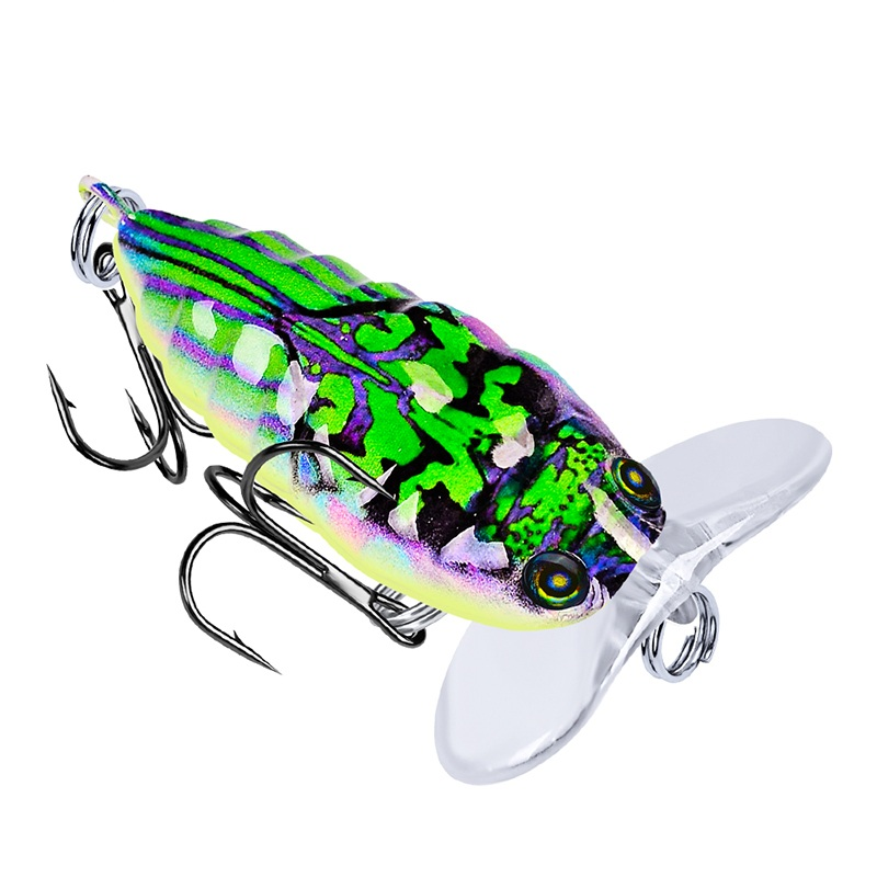 Laser Printed Cicada Crankbait Plastic Hard Lure 4cm 4g Floating Bass Bait Fishing Tackle, 6 colors