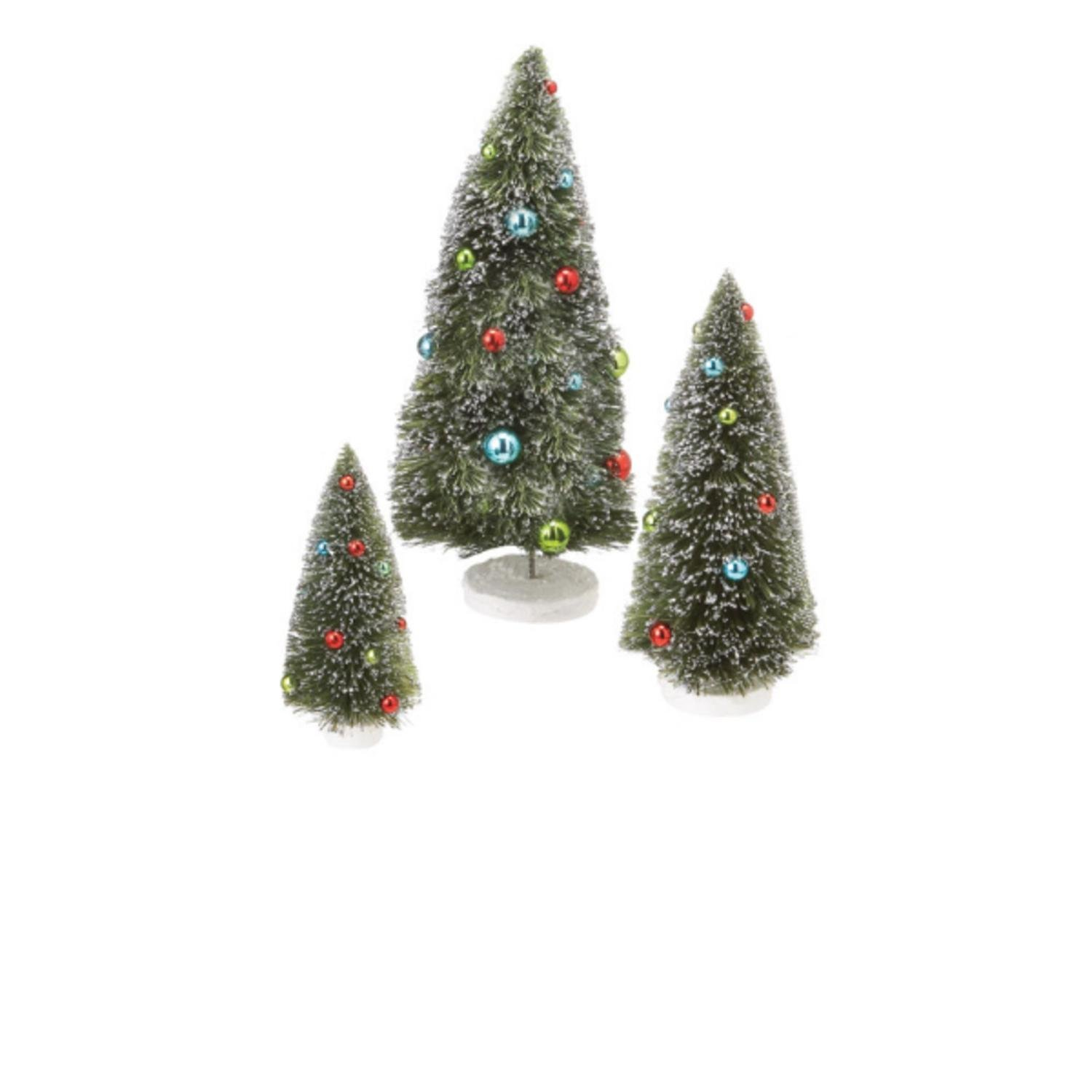 Set of 3 Decorated Glitter-Frosted Table Top Christmas Trees