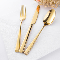 Champagne Gold Plastic Disposable Cutlery, China Wholesale Diamond Cutlery, 115g 246mm length Cutlery Set