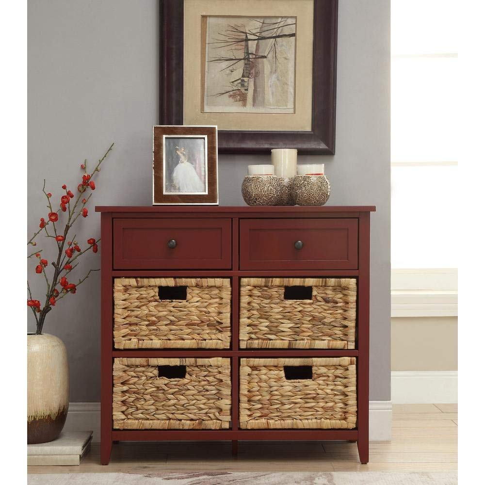 Major-Q Console Table with 6 Drawers for Dining/Kitchen/Living Room, Rectangular, Wood Rustic and Burgundy Finish, 30 x 13 x 28