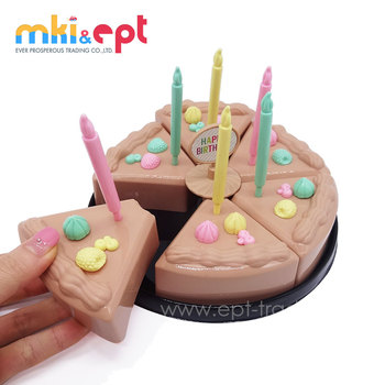 DIY Pretend Play Food Toy Kid Plastic Birthday Cake With Candle