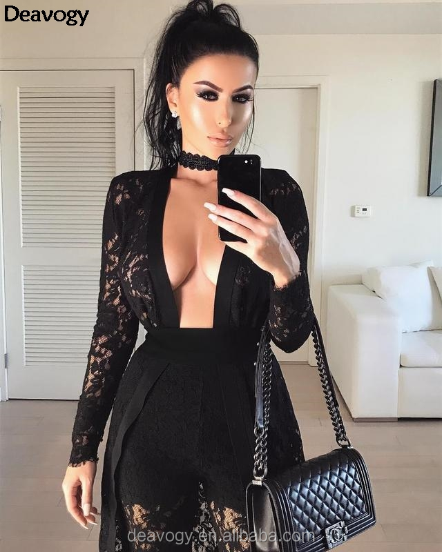 New Black Lace Long Sleeves Chic Duster Coat Casual Jacket Three Pieces Sets Hot Sale Good Quality H2684