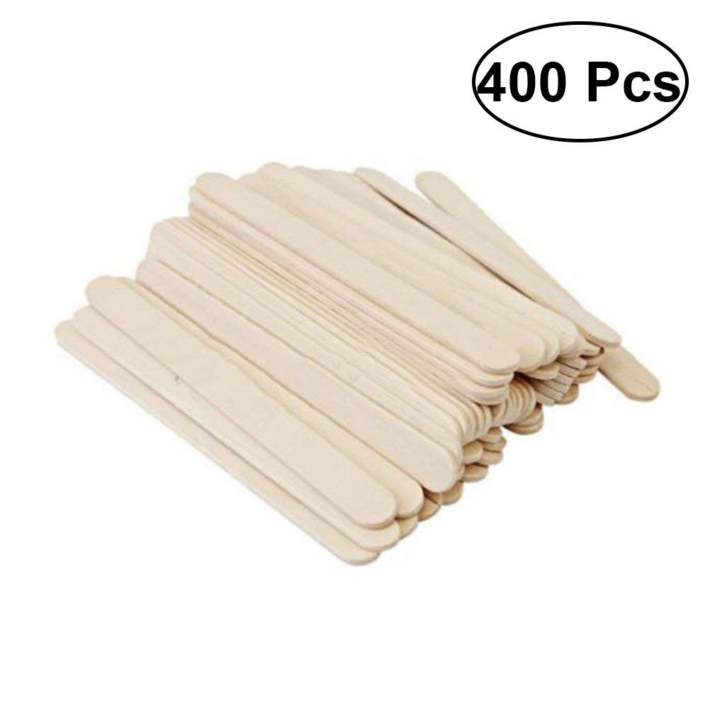 ROSENICE Natural Wood Craft Sticks Great Pop Treat Sticks for DIY Crafts 400 Pcs