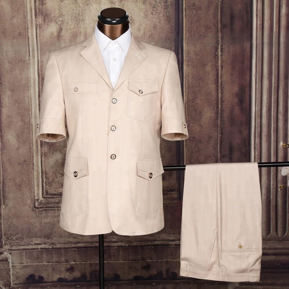 Custom Made Men Short Sleeve Safari Suits Design фото