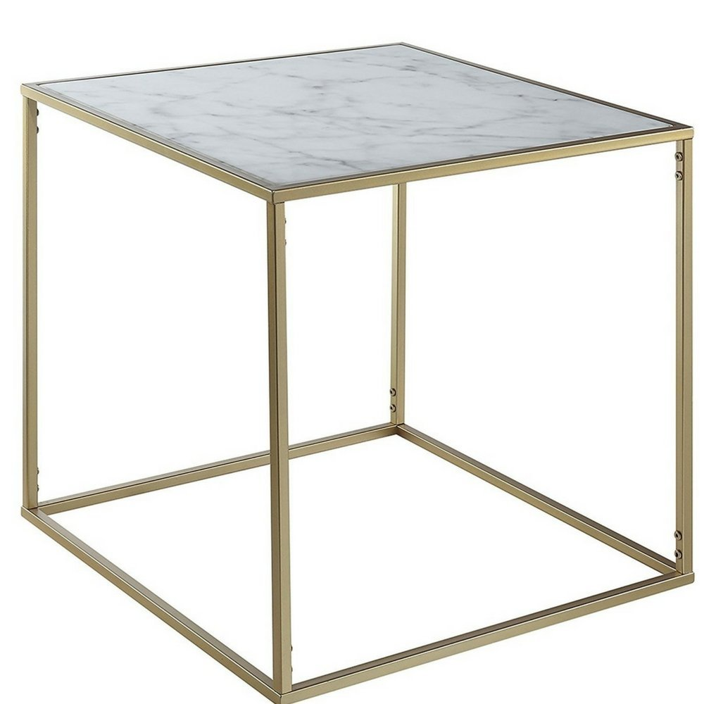 White Marble Top End Table Faux Marble Topped Table Accent Table Gold Metallic Base Sturdy Tabletop Minimal Unique Modern Contemporary Hallway Living Room Entryway Side Table & eBook By NAKSHOP