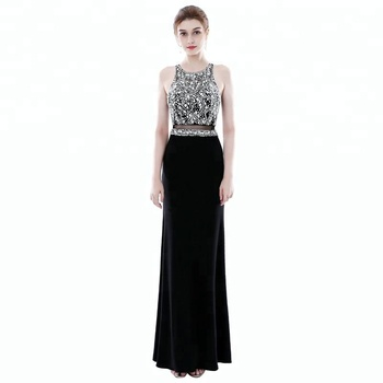 Black Evening Gown Long Sleeveless Beaded One Piece Floor Length Sexy Women Wear