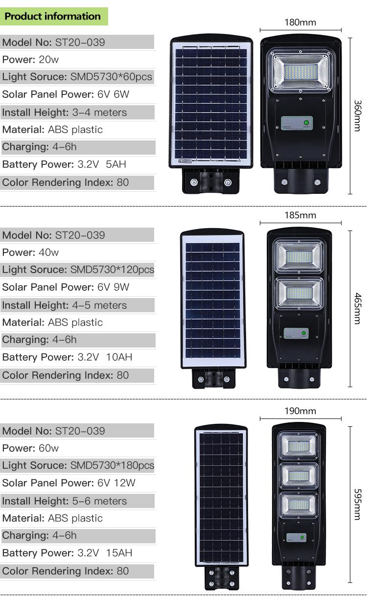 高品質 20 ワット 40 ワット 60 ワット屋外照明防水ソーラー led ガーデンランプ