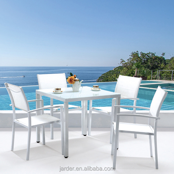 Outdoor Garden leisure PVC 5pcs aluminum extension sectional dining set