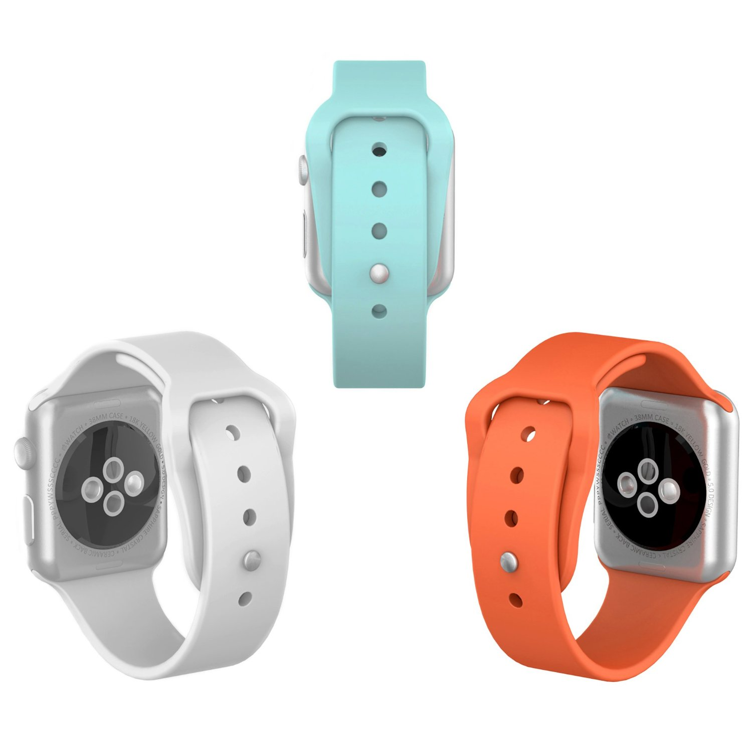 Apple Watch Sport Band 38mm, iOrange-E 3 Pack of Soft Silicone iWatch Band 38mm Replacement Watch Band with 3 Pieces Include 2 Lengths for Each Color, Turquoise, OrangeRed, White