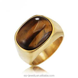 Hot 17MM Tiger Eye Stone Stainless Steel Ring
