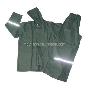 Custom One Piece Rain Suit with reflective strip, PVC rainwear Pu jacket and pants