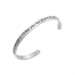 "Plain Stainless Steel Couples Cuff Open Bangle Engraved Bracelet Message ""I'll love you forever, i'll like you for always"""