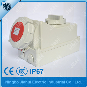 Jiahui IP67 CEE/IEC 32A 5poles european industry socket with switches and mechanical interlock