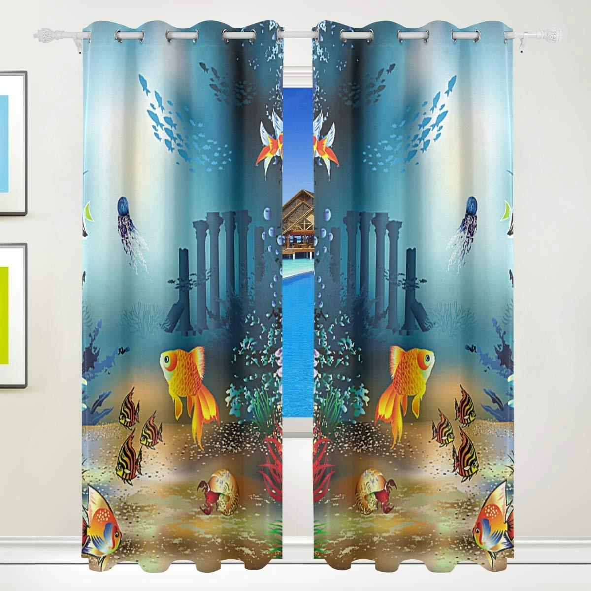 Buy Vantaso Window Curtains 84 Inch Long Ocean Fish Coral ...