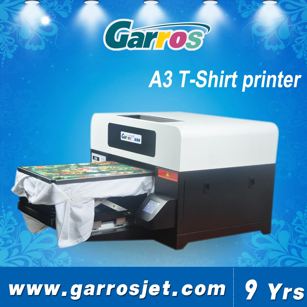 A3 size 1440dpi Garros 3d digital t-shirt printer / cotton fabric t-shirt printing machine prices in south africa