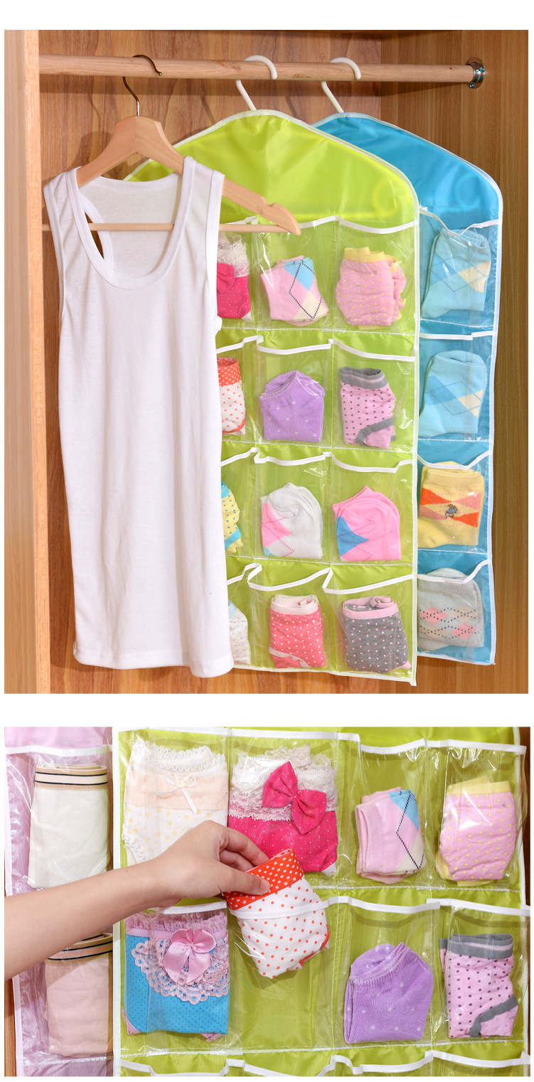 16 compartment wardrobe panties socks storage bag hanging bag hanging consolidation storage bag