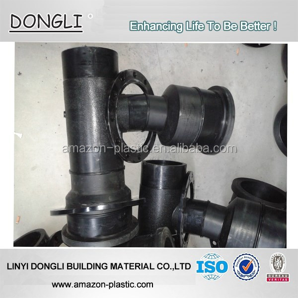 hdpe polyethylene fabricated fitting Fabricated HDPE pipe fittings pe reducing tee for water supply