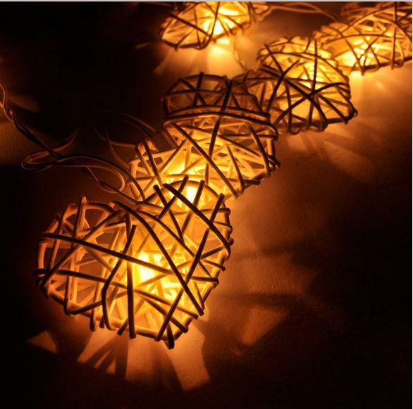 LAMP-0140 Rattan Heart Balls String Lights/Fairy/Lamp Handmade For Home/Christmas Decor/Lighting, CE/GS/SAA/UL