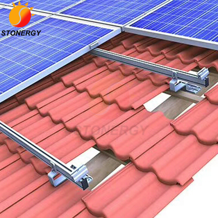 PV Tile Roof Solar Panel Racking Mount Systems For Home Power System