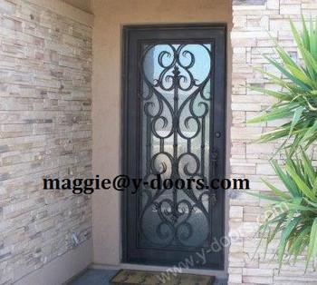 Wrought Iron Single Door Design Interior Entry Door Safety Door