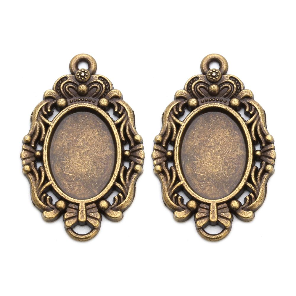 10 pieces of antique bronze crown pendant blank tray base convex frame DIY necklace production
