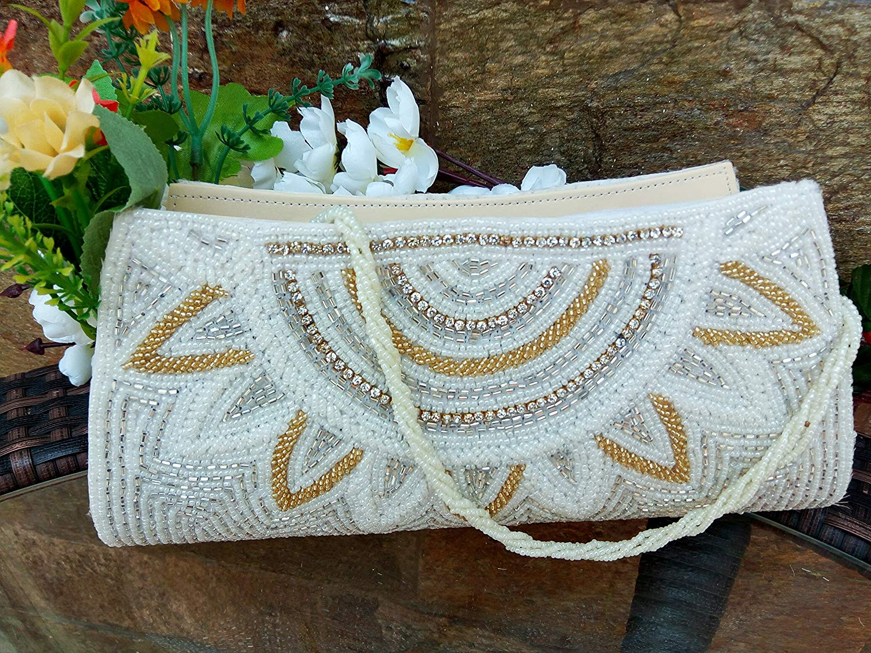 Artcraving Ivory Bridal Clutch, Beaded Evening Bag, Rhinestone Clutch, Bridal Clutch, Lace Purse, Bridal Purse, Wedding Clutch, Evening Clutch