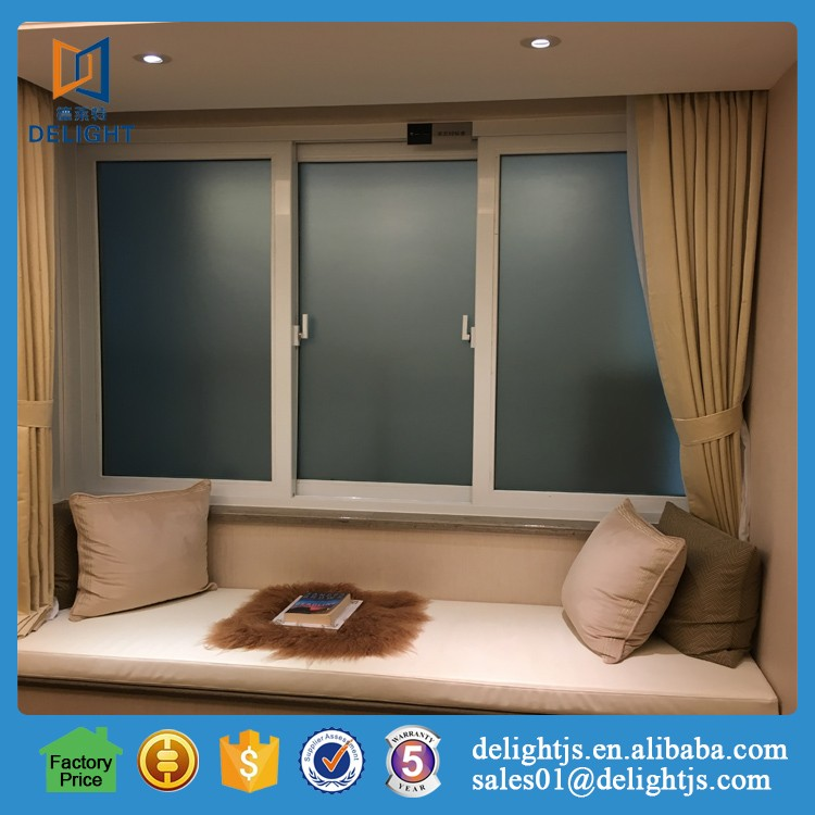 Wood grain finished security sliding mirror closet windows for home