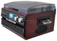 Classical Turntable with AM FM Radio CD Cassette/ USB Recorder & MP3 Player
