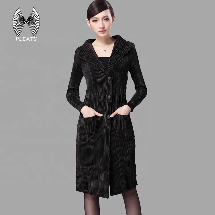 korean style women clothes autumn coat with front pocket and double-breasted easy care pleated clothes