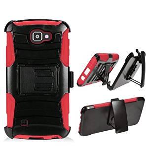 Phone Case for Straight Talk LG Rebel 4G LTE / Verizon Wireless Prepaid LG Optimus Zone 3 4G LTE / LG Spree ( Cricket Wireless ) Red Edge Cover Kickstand Combo Holster Belt Clip