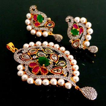 Whole American Diamond Pendant Set Zirconia Party Wear Fashion Pearl