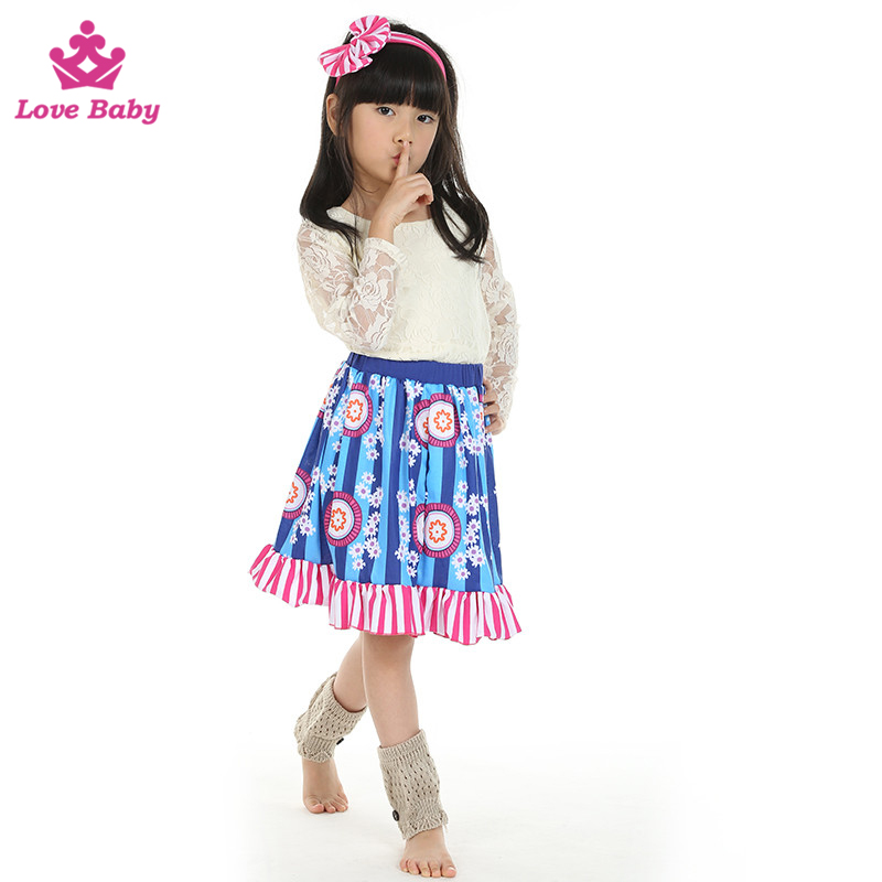 Wholesale Girls White Lace Ruffles Outfits with Floral Skirt Kids Boutique Party Wear Clothing