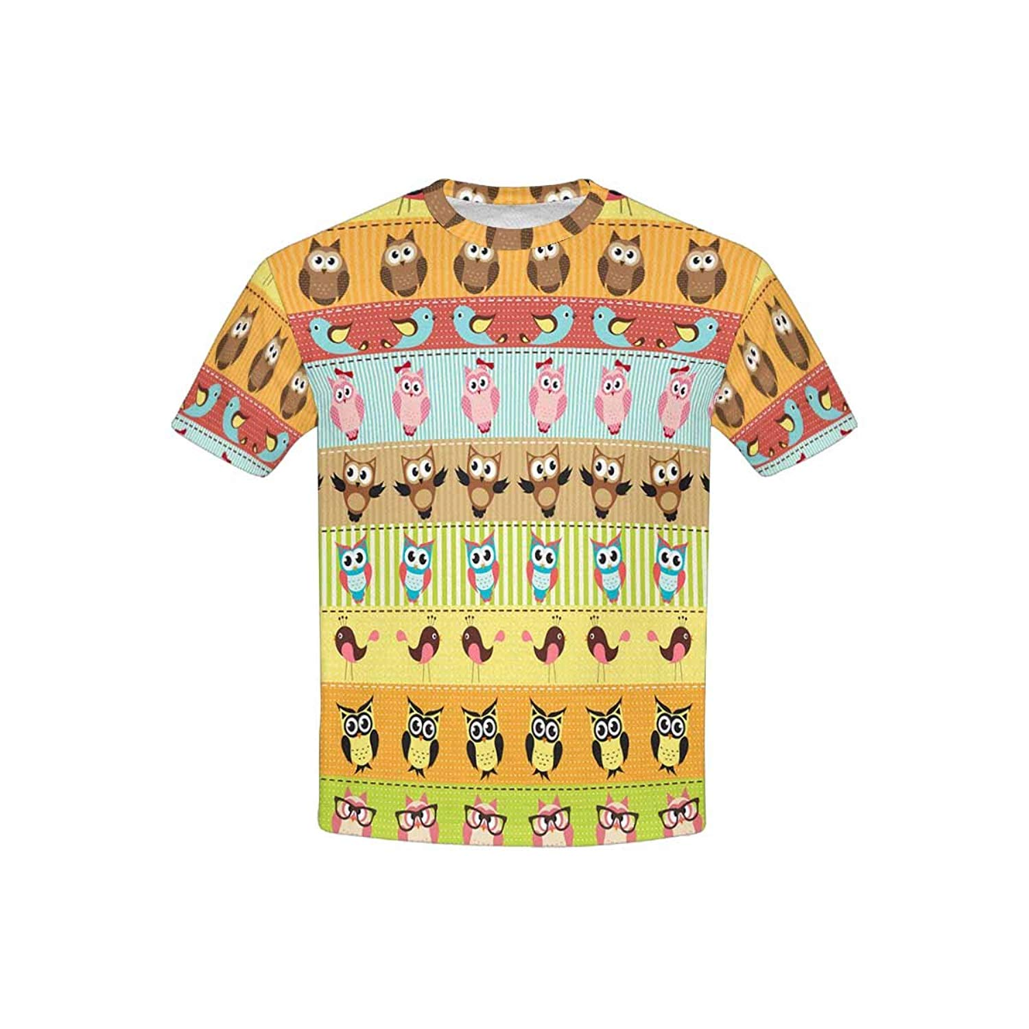 XS-XL INTERESTPRINT Childs T-Shirt Set of Colorful Cartoon Owls on Branches