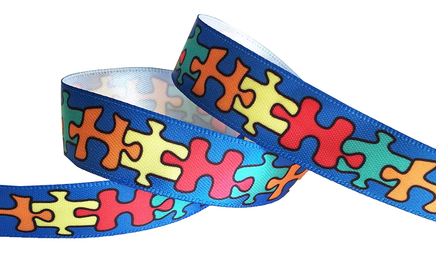fcb74252a Get Quotations · HipGirl Autism Fabric, Autism Ribbon, Autism Awareness  Products, Jigsaw Puzzle Ribbon for Gift