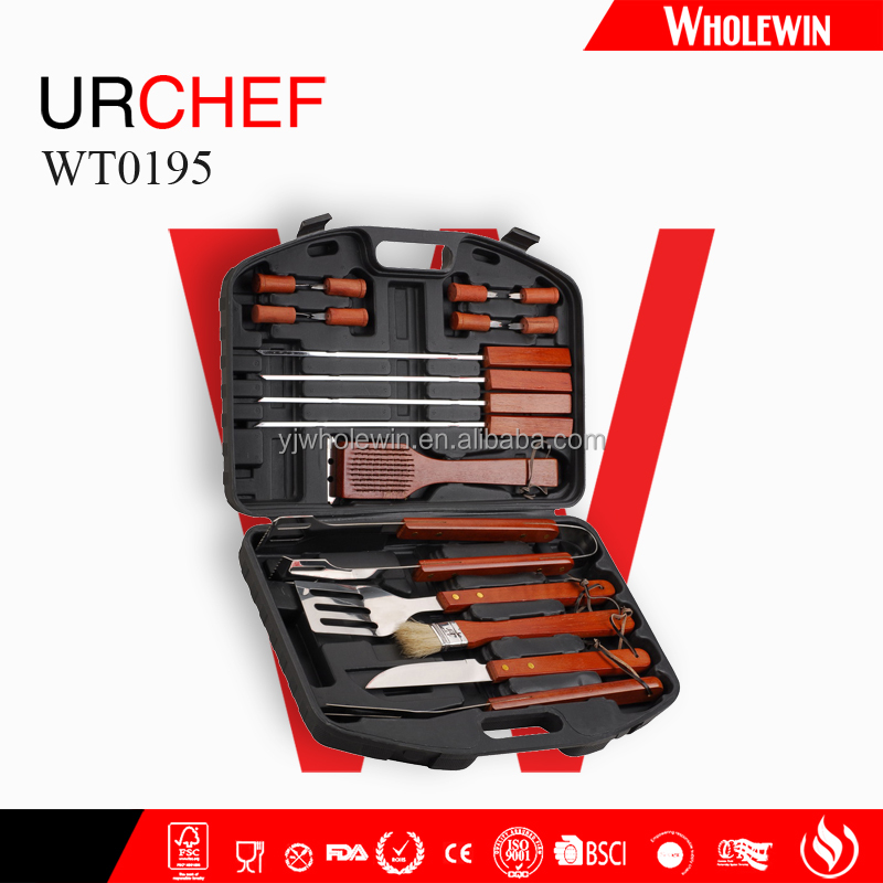 Christmas barbecue gift 18pcs BBQ grill tools set with plastic case