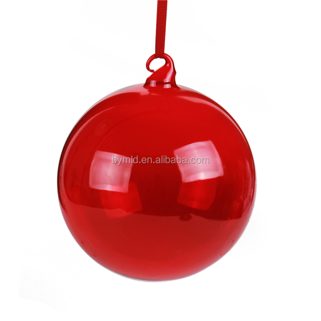 Wholesale Red Clear Glass Ball Christmas Ornaments
