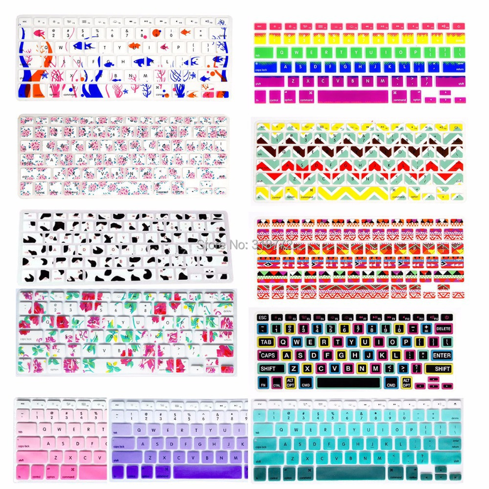 Silicone Flower Decal Rainbow Keyboard Cover Keypad Skin Protector For Apple Mac Macbook Pro 13 15