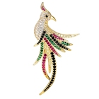 X1808284 xuping 14k plaqué or animal oiseau perroquet broche de mode, broche luxe d'imitation de couleur cristal strass broche broches
