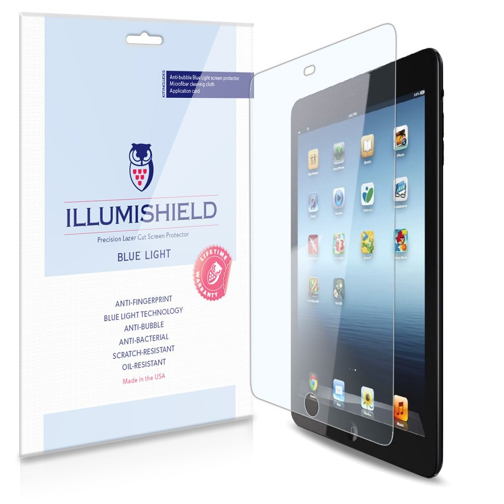 iLLumiShield – Apple iPad Mini 2 w Retina Display (HD) Blue Light UV Filter Screen Protector Premium High Definition Clear Film / Reduces Eye Fatigue and Eye Strain – Anti- Fingerprint / Anti-Bubble / Anti-Bacterial Shield - Comes With Free LifeTime Replacement Warranty – [2-Pack] Retail Packaging